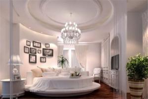 乳白色圆形床卧室效果图搭配