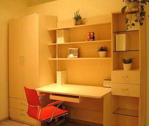板材卧室转角书桌加衣柜