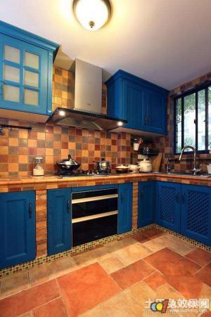 地中海风格厨房砖砌橱柜