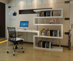 简易书桌书柜组合效果图