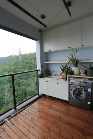 洗衣池与洗衣机放阳台效果图