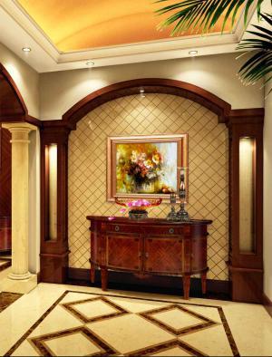 中式别墅家庭装修玄关效果图