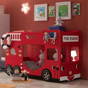 卡通消防车儿童家具上下床