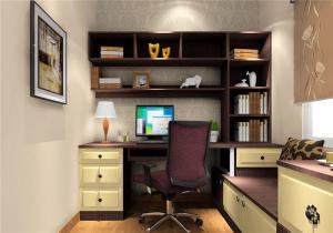 书房榻榻米卧室设计3D效果图