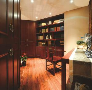 中式转角书柜书房装修效果图