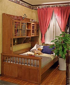 男孩儿童房实木定制床