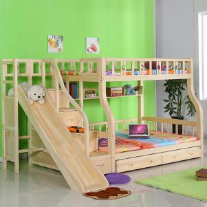 松木滑梯双层上下床