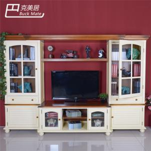 美式乡村电视书柜一体效果图