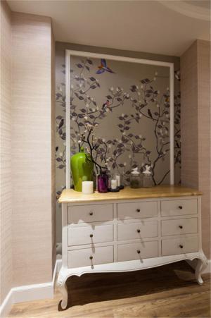 中式玄关装修效果图鞋柜背景墙搭配