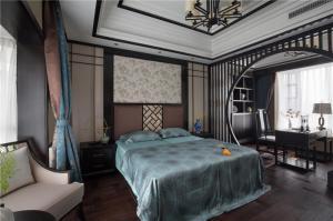 中式风格的主卧室的床与书房设计