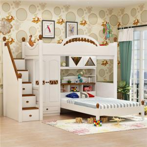 成人儿童多功能上下床带衣柜