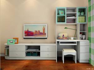 维意电视书柜一体效果图