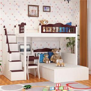 美式风格青年卧室上下床装修效果图