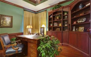 高清无水印欧式书桌书柜组合