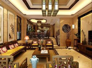 中式客厅背景墙作品
