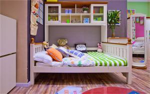 硅藻泥儿童房效果图书柜床一体