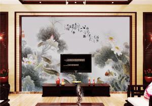 水墨荷花中式客厅背景墙