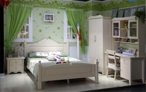 绿色儿童房窗帘效果图