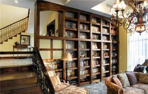 别墅客厅中式书柜墙