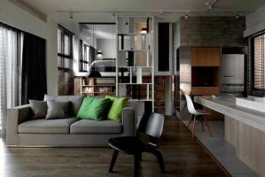 公寓客厅开放式书房装修效果图