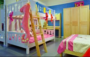 三人房儿童房双层床效果图