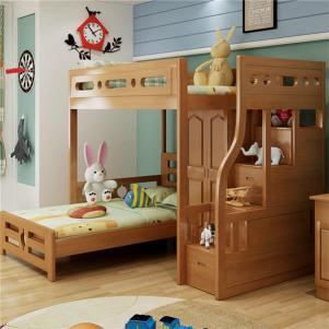 榉木榻榻米上下床儿童套房家具