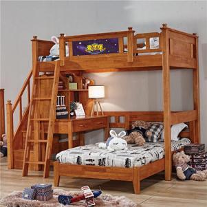 全实木高架床双人上下床带书桌衣柜