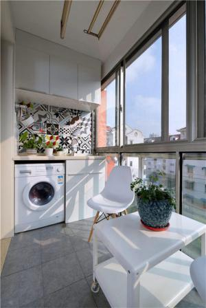 阳台改造效果图洗衣池案例