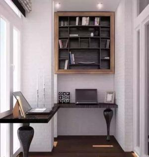 简单实用的阳台改书房效果