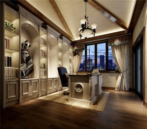 欧式书桌书柜组合家具设计