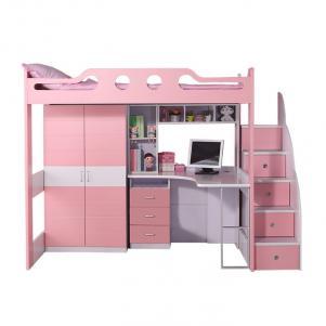 带护栏书桌儿童房设计上下床