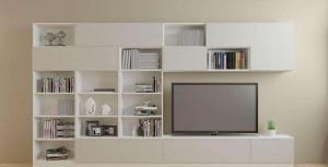 简易浅色电视书柜一体效果图