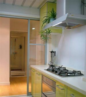 绿色系阳台改厨房效果图