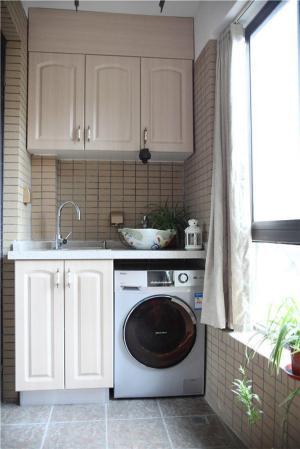 白色阳台洗衣池效果图