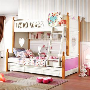 地中海两个孩子儿童房设计家具床