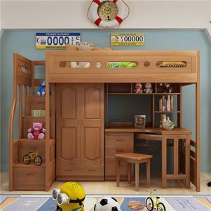 儿童上下床带护栏书桌书柜床