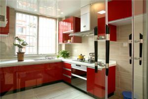 红色开放式厨房橱柜