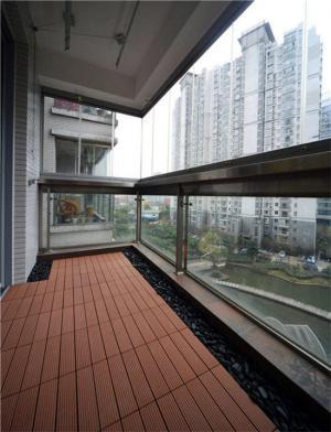 高层楼阳台防腐木效果图