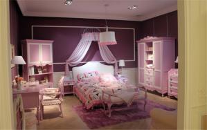 紫色儿童房墙纸效果图