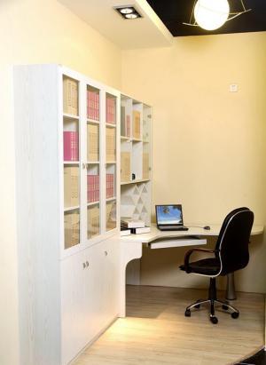 现代书房装修效果图转角书桌书柜定制