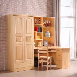 全松木实木卧室转角书桌加衣柜