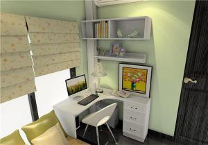 现代榻榻米房间转角书桌