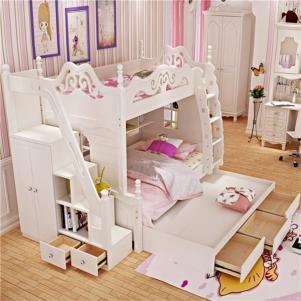 儿童房双层床效果图家具套房