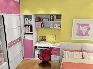 卧室转角书桌加衣柜加大空间