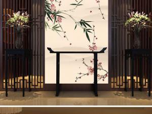 花鸟屏风新中式玄关