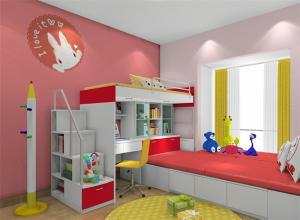 红色系儿童房背景墙