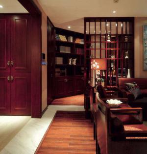 中式过道开放式书房装修效果图
