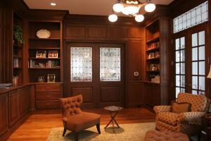别墅设计效果美式书房装修效果图