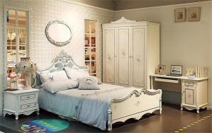 全白色卧室儿童床