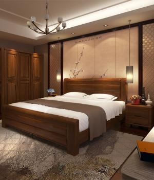 中式风格实木家具主卧室的床